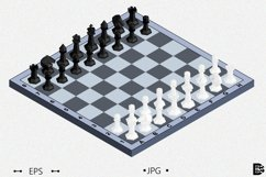 Chess board with figures. 3d Isometric Vector illustration Product Image 1