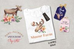 Moose Floral Animal Watercolors Flowers Arrangements Product Image 2