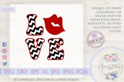 Chevron Love with Lips Valentine's Day SVG DXF LL102A Product Image 1