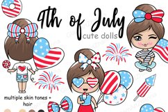 4th of July CUTE DOLLS Independence Day USA American PNG Product Image 1