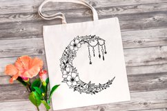 Moon SVG - Floral Crescent Moon SVG Cut Files Product Image 2