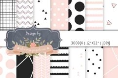 Pink and black geometric digital paper, Baby shower paper Product Image 1