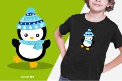 Baby Penguin Blue Scarf T-Shirt Design | Sublimation T-Shirt Product Image 2