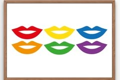 Pride lips SVG Multicolored lips SVG Rainbow 5 Product Image 1