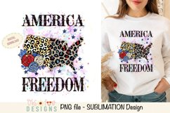 Sublimation US map animal print | red white and blue glitter Product Image 1