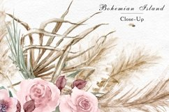 Watercolor tropical leaves and pampas grass geometric frames Product Image 3