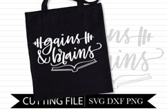 Gains & Brains - Work out - Hand Lettered SVG Product Image 1