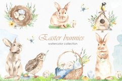Easter bunnies watercolor Product Image 1