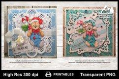 Teddy Bear in Christmas Stocking Printable Line Art Product Image 3