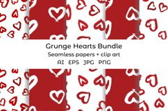Hearts digital paper. Grunge heart clipart. Heart pattern Product Image 1