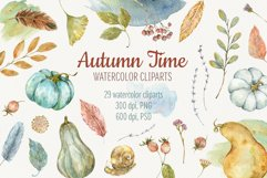 Autumn Time. Watercolor isolated cliparts Product Image 1