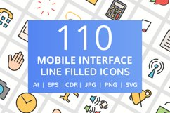 110 Mobile Interface Filled Line Icons Product Image 1