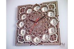 C09 - Wall Clock for Laser cut, Mandala Clock DXF pattern Product Image 4