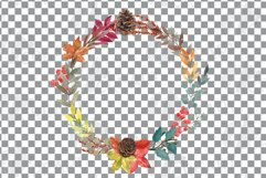 Fall leaves and flowers decor. Watercolor autumn wreath png Product Image 4