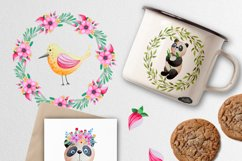 Watercolor Panda and flowers Product Image 5
