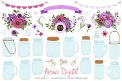 Purple Mason Jar Floral Purple Wedding Clipart Product Image 1