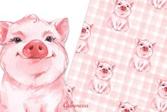 Pig and pattern. Watercolor Product Image 1