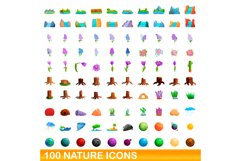 100 nature icons set, cartoon style Product Image 1