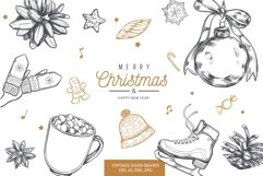 Merry Christmas and New Year vintage hand-drawn illustration Product Image 1