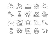 20 Real estate Icons, colored and outline style Product Image 3