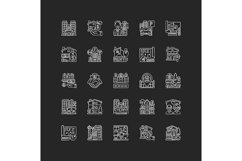Real estate chalk white icons set on black background Product Image 1