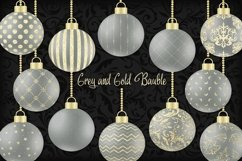 Grey and Gold Christmas Bauble Product Image 1