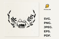 Floral wreath with mountains - Mountains with trees Product Image 3