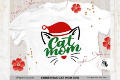 Christmas Cat Mom SVG at Mama SVG Cat in Santa Hat SVG Product Image 1