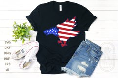 Bald Eagle Silhouette and USA Flag - 4th of July SVG File Product Image 3