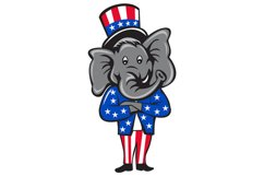 Republican Elephant Mascot Arms Crossed Standing Cartoon Product Image 1