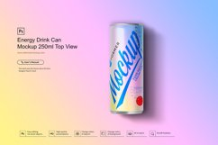 Energy Drink Can Mockup 250ml Top View Product Image 3
