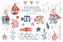 Cute Rabbit sailor. Kids watercolor sea clipart. Baby Bunny Product Image 3