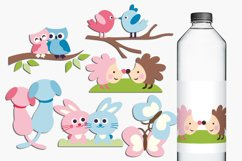 Animals in pairs illustrations - pink blue Product Image 1