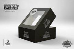 Square Flip Top Cake Box Packaging Mockup Product Image 2