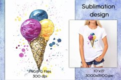 Ice cream watercolor sublimation designs downloads PNG JPG Product Image 1