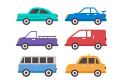 Flat cars set collection vector Product Image 1
