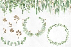 Watercolor and Gold Eucalyptus Clipart Product Image 3
