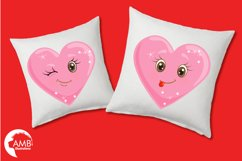 Valentine faces clipart, Heart emojis clipart, graphics illustrations AMB-1172 Product Image 3