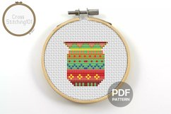 Flower Pot Cross Stitch Pattern - Instant Download PDF Product Image 1