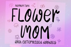Flower Mom - girl kids font with flower doodle Product Image 5