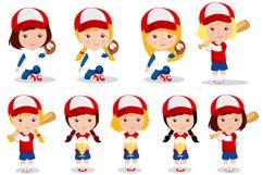 Baseball girl illustrations, Baseball girl graphics Product Image 2