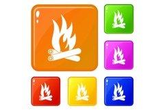 Bonfire icons set vector color Product Image 1
