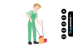 House Cleaning Man Clipart Product Image 1