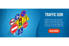 Traffic sign concept banner, isometric style Product Image 1