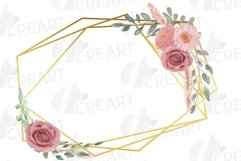 Watercolour blush flowers & green leaves bridal templates. Product Image 4
