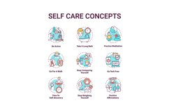Self care concept icons set Product Image 1