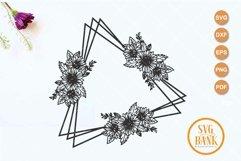 Triangle sunflower frame SVG, Wedding invitation frame Product Image 1