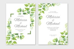 Green leaves wedding invitations set Product Image 2