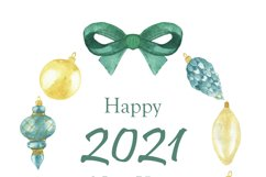 Watercolor new year card set, christmas tree ball, toy decor Product Image 5