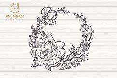 Magnolia mini Bundle SVG, Floral Monograms Cut Files, Weddin Product Image 2